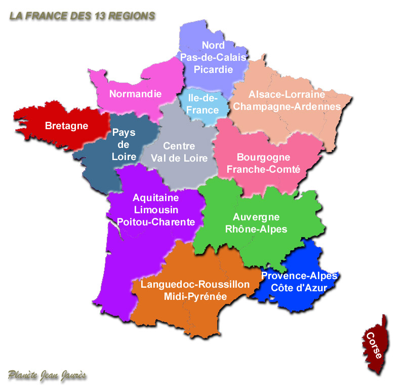 Carte De France Et De Ses Regions