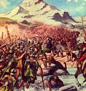 Pour combattre les romains et vont à la bataille en ordre dispersé
